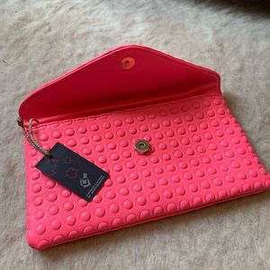 Handbags - hot pink clutch purse from Italy